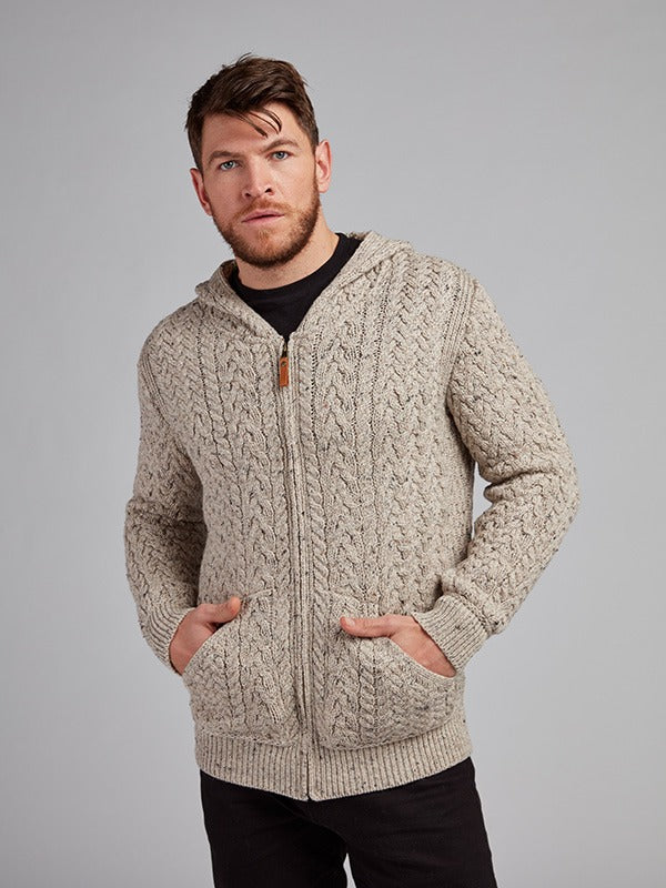 On the picture model is wearing our Cable Knit Mens Hoodie