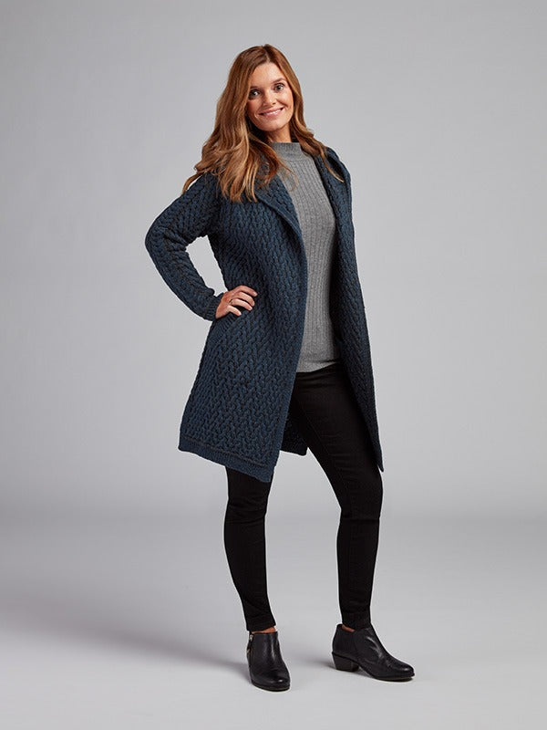 The Doneraile Aran Cable Knit Hoodie Coat