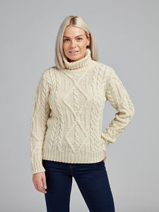 The Irish Oir Aran Knit Cable Polo Neck