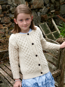 The Cloyne Child's Aran Knit Cardigan in Natural