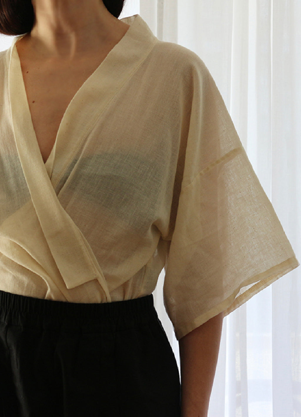 A.P.Monde zero waste design. Blouse One, off white cotton, loose cut and signature french seams