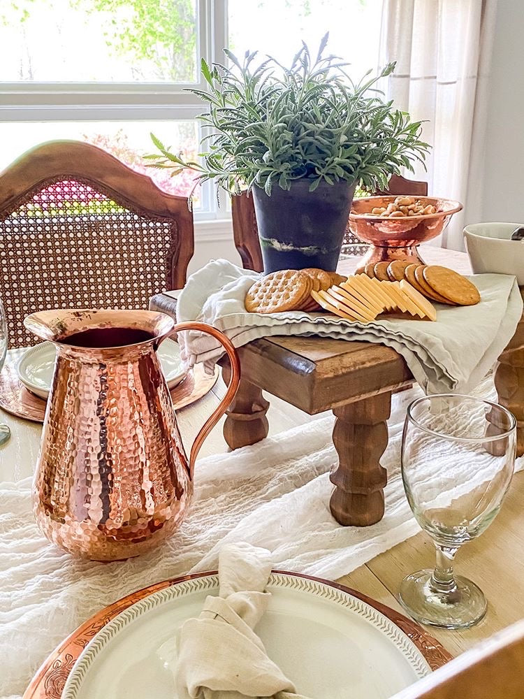 Copper water pitcher as a decor accent or water jug
