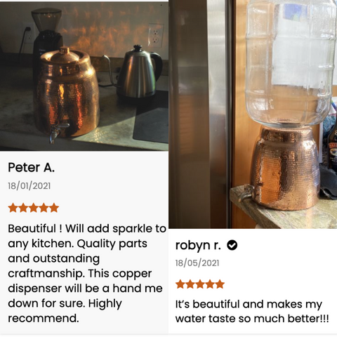 Our customers are raving about our hand hammered copper water dispenser---here's why!