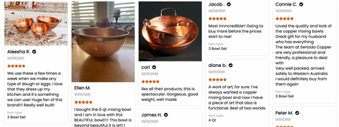 Don't take it from us that our copper mixing bowls are amazing...read these customer reviews and you will find out just how much people love our hand hammered copper mixing bowls.