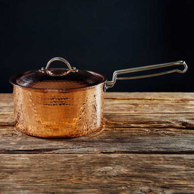 Copper Sauce Pot, 2.5 quart with lid