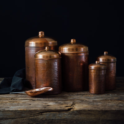 Copper Kitchen Canisters - Complete 5 piece Set