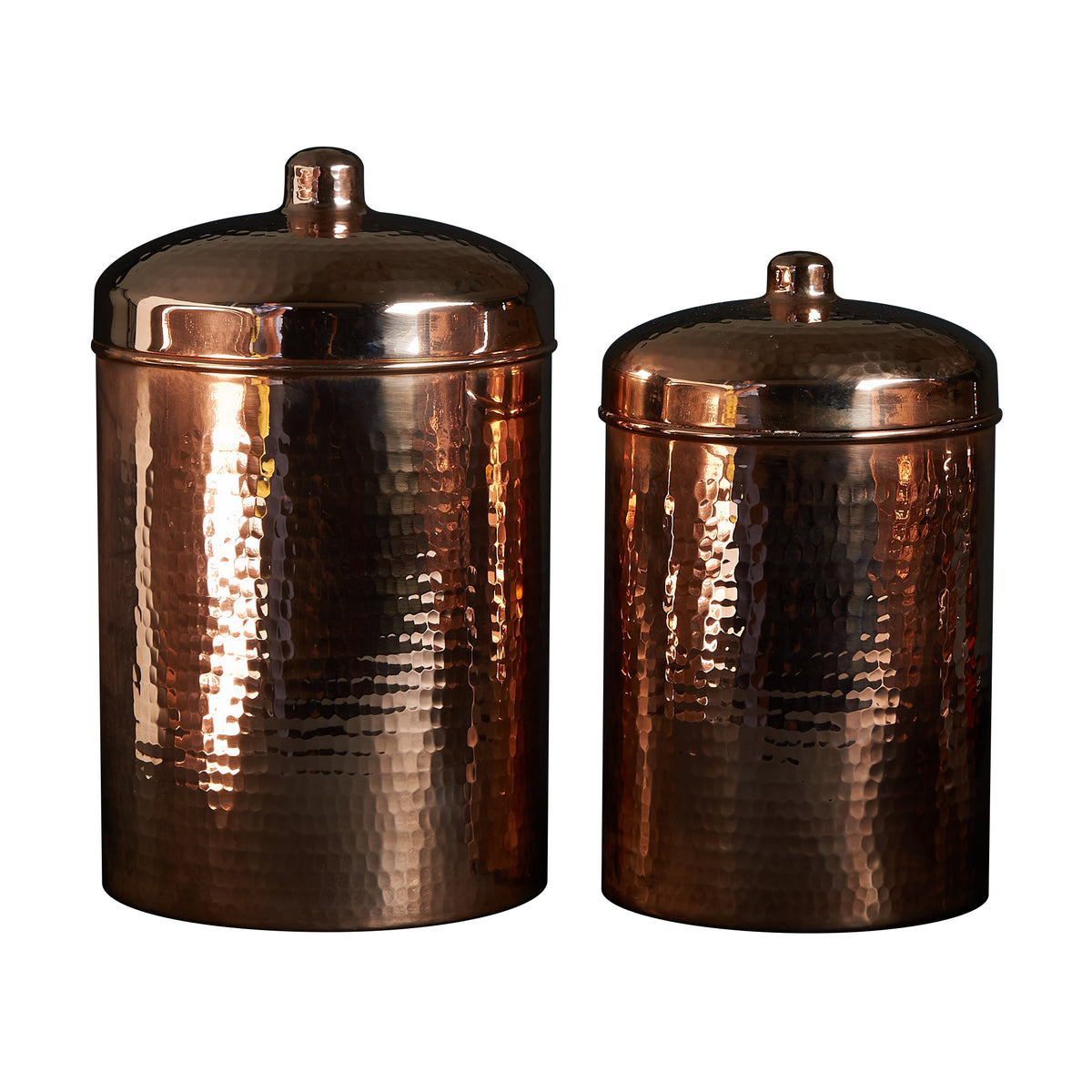 Copper Kitchen Canisters - Large Set, 2 Pieces