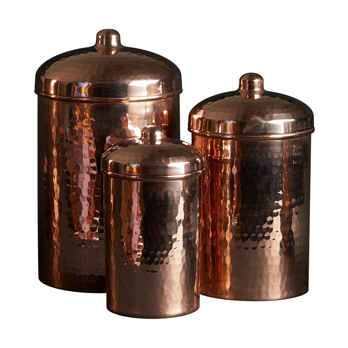 Copper Kitchen Canisters - Small Set, 3 Pieces
