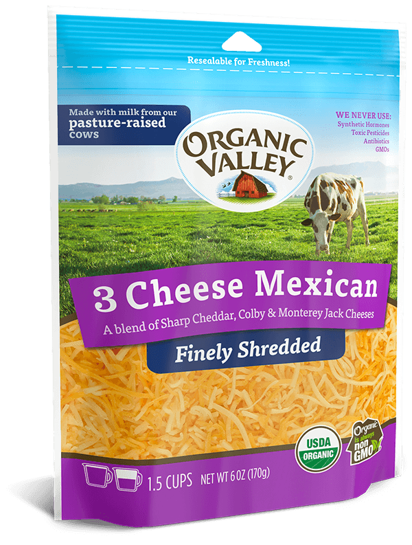 Cheese, Organic Shredded Mexican Blend
