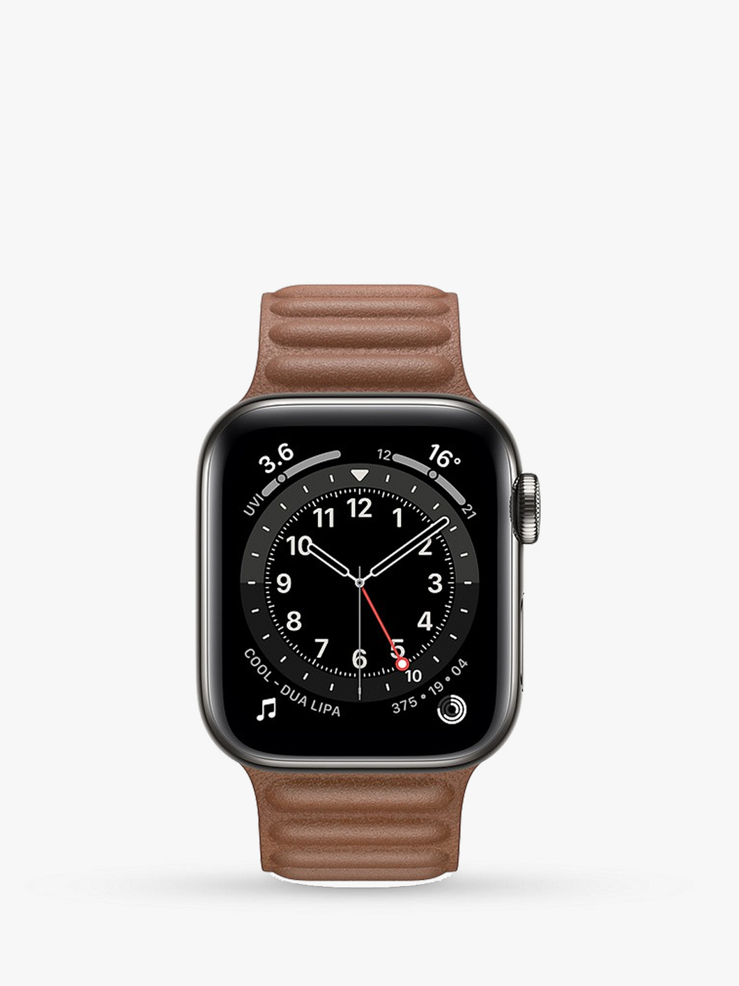 Smart Watch: Black with Brown Leather