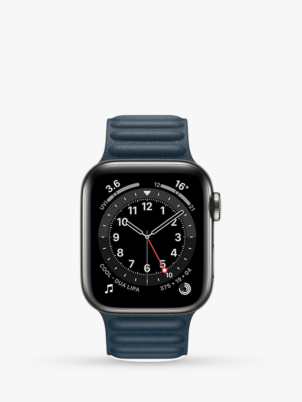 Smart Watch: Black with Navy Leather