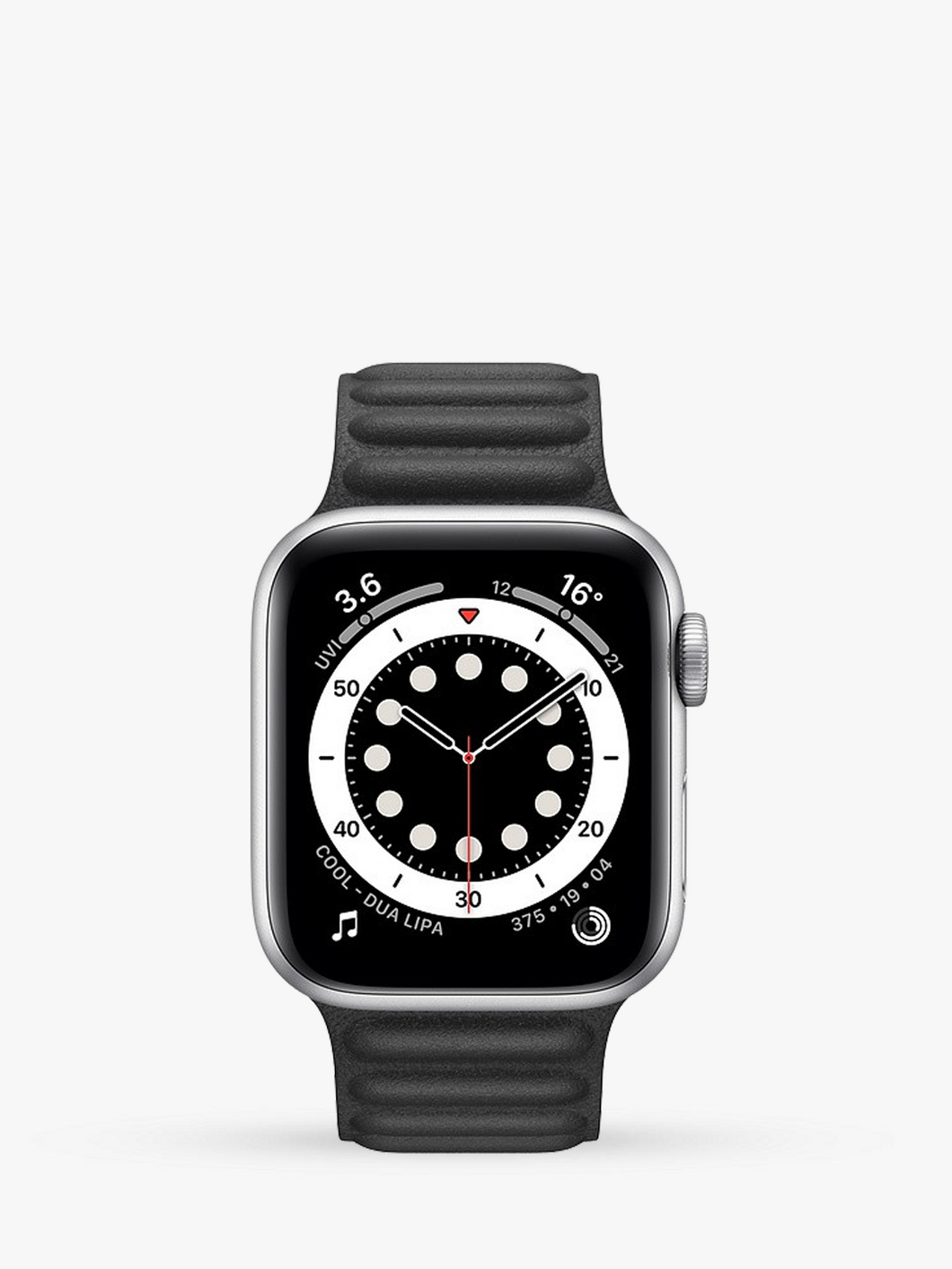 Smart Watch: Silver with Black Leather