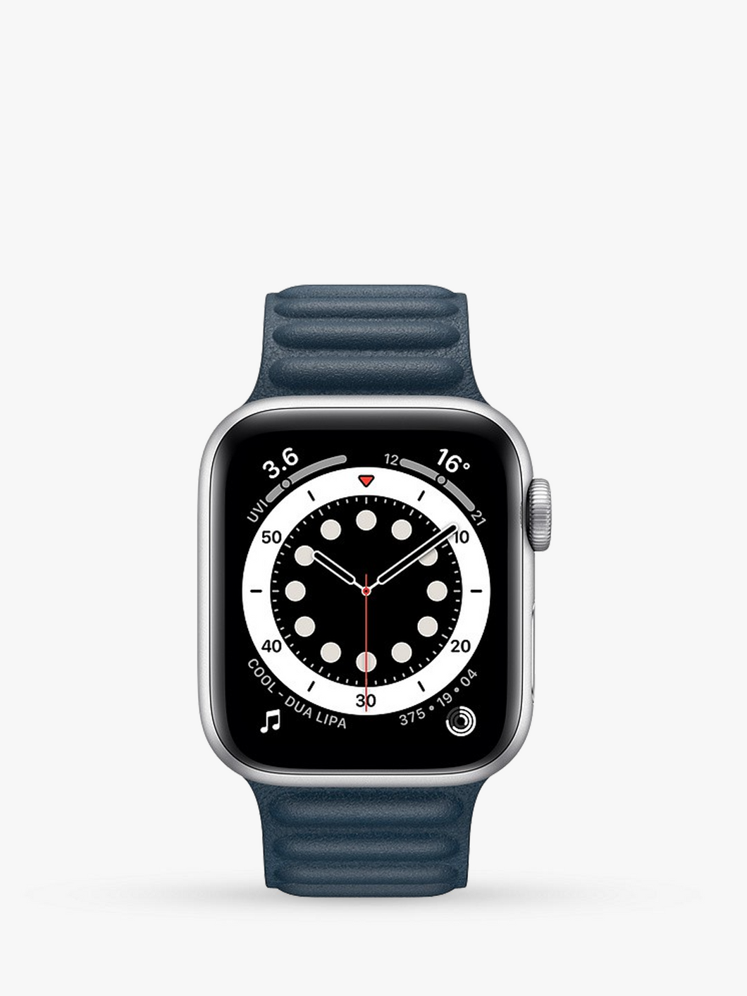 Smart Watch: Silver with Navy Leather