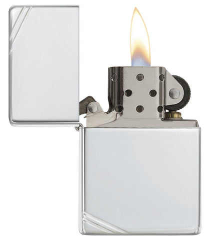 14, Sterling Silver Zippo Lighter with Decorative Slashes, Vintage Case