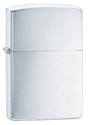 Armor® Brushed Chrome Windproof Lighter standing at a 3/4 angle