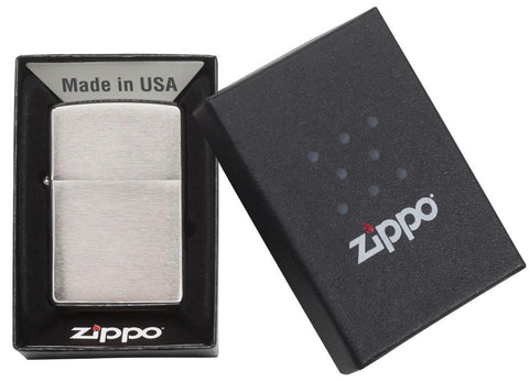 Armor® Brushed Chrome Windproof Lighter in its packaging