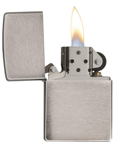 Armor® Brushed Chrome Windproof Lighter with its lid open and lit