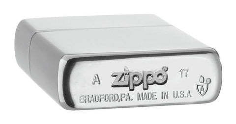 Armor® Brushed Chrome Windproof Lighter laying flat, showing the bottom stamp