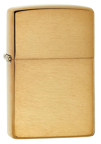 Armor® Brushed Brass Windproof Lighter standing at a 3/4 angle