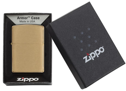 Armor® Brushed Brass Windproof Lighter in its packaging