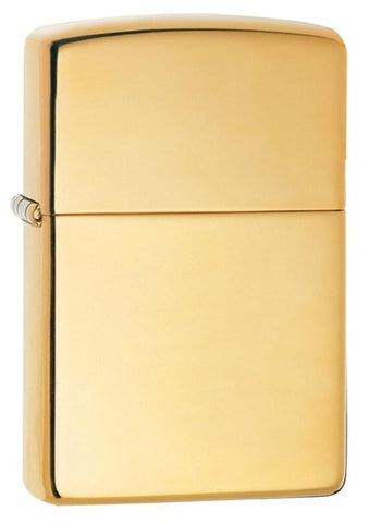 Armor® High Polish Brass Windproof Lighter standing at a 3/4 angle