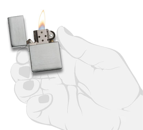 1935.25-000003- Original 1935 Replica Windproof Zippo Lighter, Brushed Chrome Finish