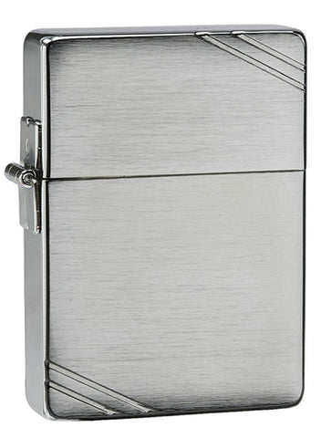 1935 Replica Windproof Lighter with Slashes standing at a 3/4 angle