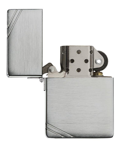 Brushed Chrome 1935 Replica Windproof Lighter with Slashes with its lid open and not lit