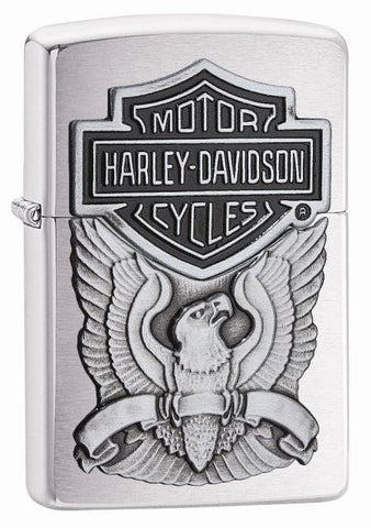 200HD, Harley-Davidson Eagle Wings, Emblem, Brushed Chrome, Classic Case