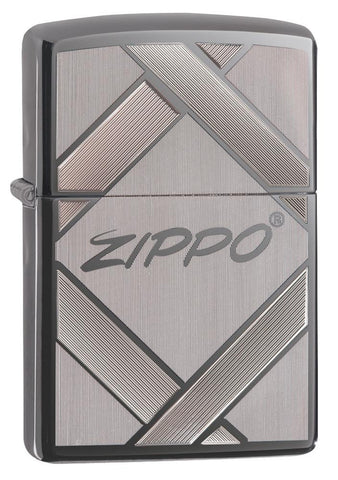 20969, Unparalleled Tradition with Vintage Zippo Logo, Laser & Auto Engraving on Black Ice Finish