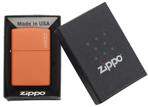 231ZL Orange Matte Lighter with Zippo Logo