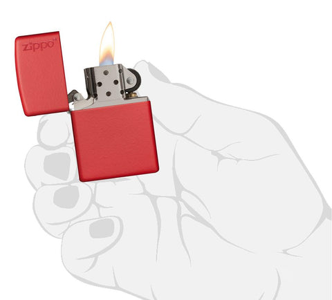 233ZL, Red Matte Lighter with Zippo Logo