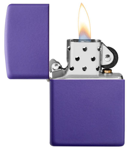 Purple Matte windproof lighter with the lid open and lit