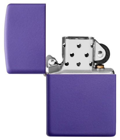 Purple Matte windproof lighter with the lid open and not lit