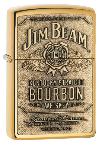 254BJB, Jim Beam Bronze Bourbon Whiskey Emblem, High Polish Brass Finish, Classic Case