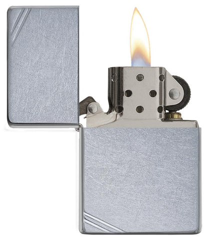 267, Zippo Lighter with Decorative Slashes, Street Chrome Finish, and Vintage Case