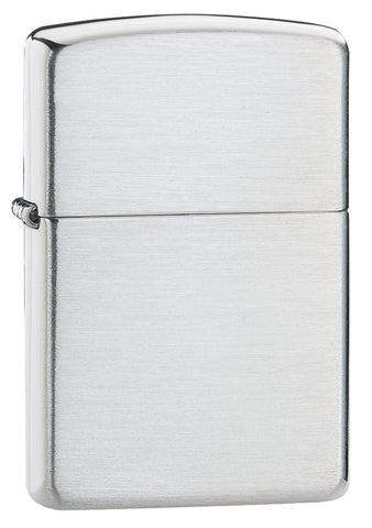 Armor® Brushed Sterling Silver Windproof Lighter standing at 3/4 angle