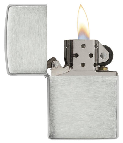 Armor® Brushed Sterling Silver Windproof Lighter with its lid open and lit