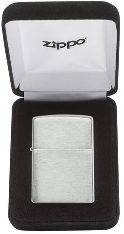 Armor® Brushed Sterling Silver Windproof Lighter in its packaging