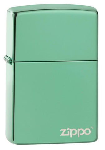 Front view of Classic High Polish Green Zippo Logo Windproof Lighter standing at a 3/4 angle