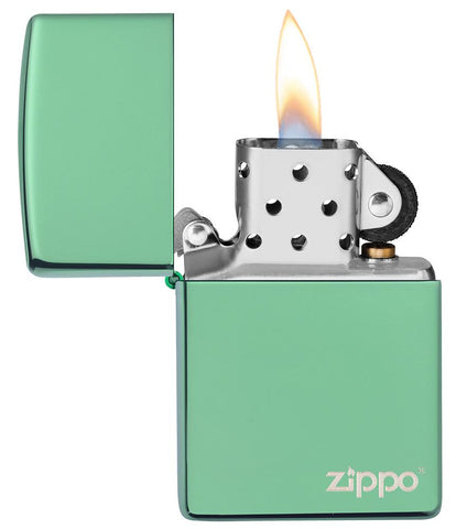 Classic High Polish Green Zippo Logo Windproof Lighter with its lid open and lit