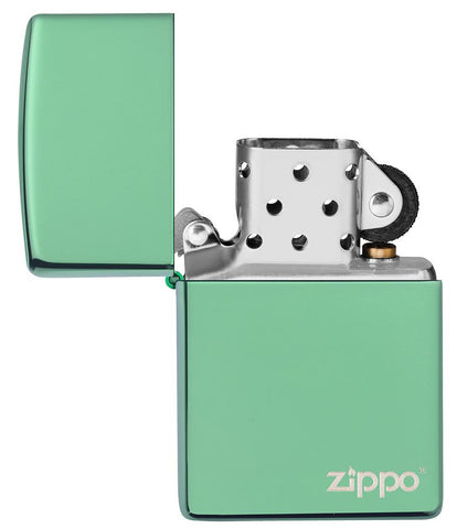 Classic High Polish Green Zippo Logo Windproof Lighter with its lid open and unlit