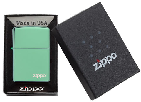 Classic High Polish Green Zippo Logo Windproof Lighter in its packaging