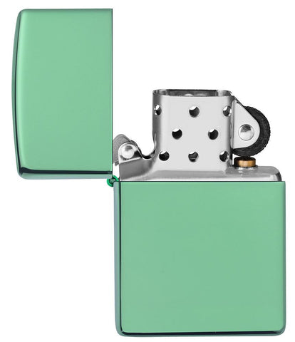 Classic High Polish Green Windproof Lighter with its lid open and unlit
