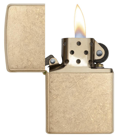 Armor® Tumbled Brass Windproof Lighter with its lid open and lit