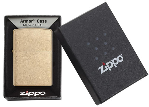 Armor® Tumbled Brass Windproof Lighter in its packaging