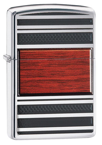 28676, Wooden Stripes Pipe Lighter, Emblem, High Polish Chrome Finish