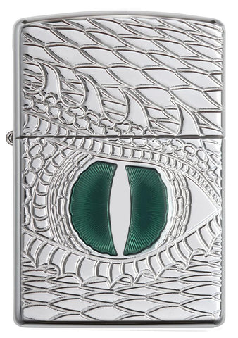 28807, Green Dragon Eye, Deep Carve, Epoxy Inlay, High Polish Chrome, Armor Case