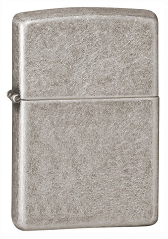 Armor™  Antique Silver Plate Windproof Lighter standing at a 3/4 angle