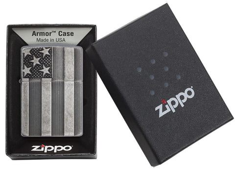 28974, American Flag Armor, Deep Carve, Antique Silver Plate, Armor Case